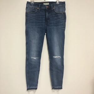 "Madewell Distressed 9"" High-Rise with raw hem"
